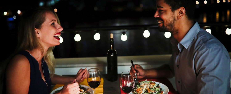 couple at a romantic restaurant