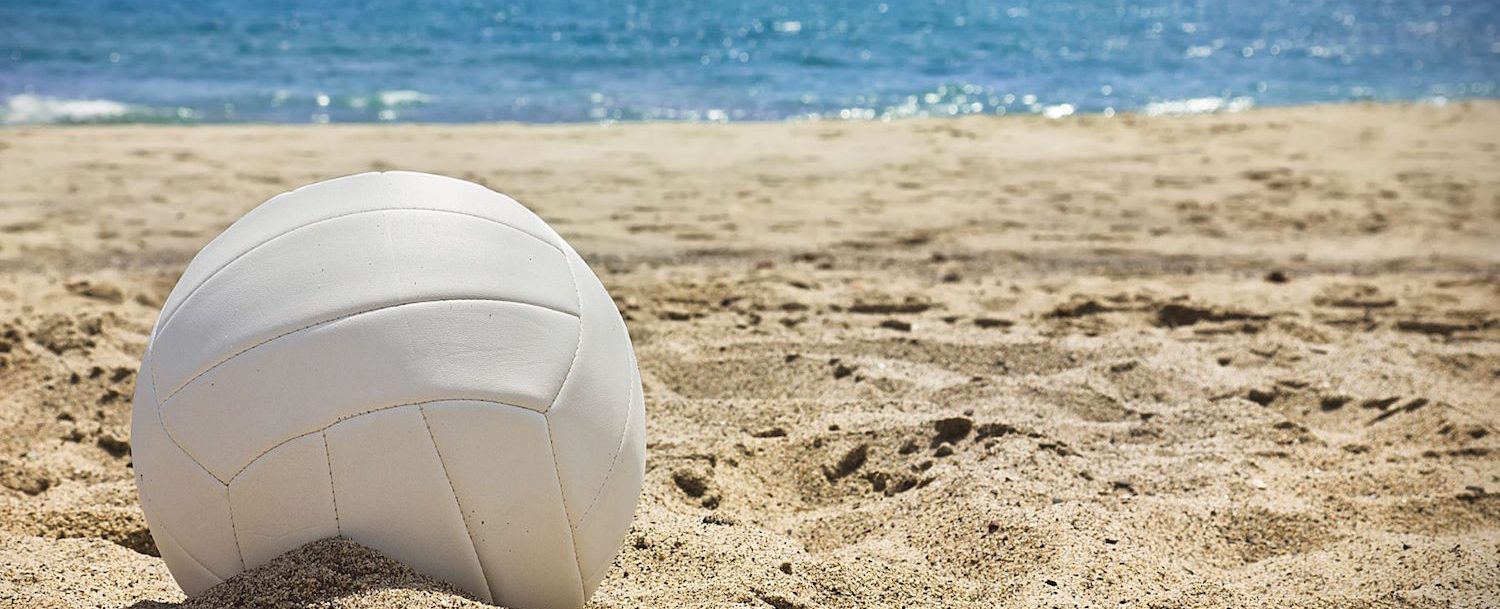 Volleyball on sand on the beach.