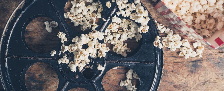 Film reel and popcorn.