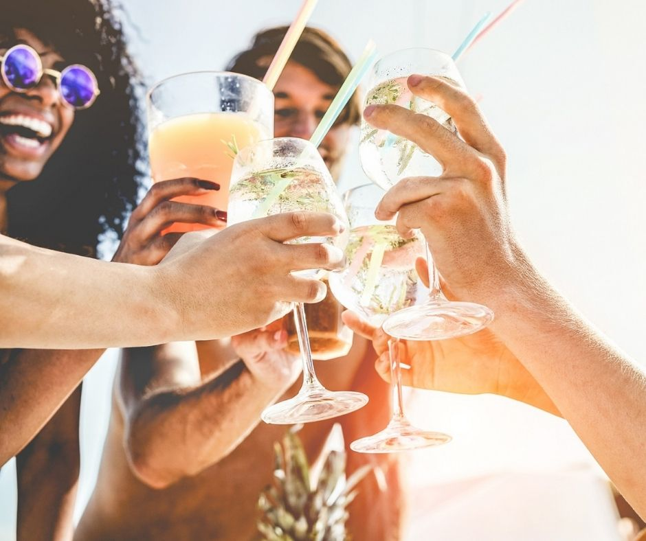 Group of friends with drinks
